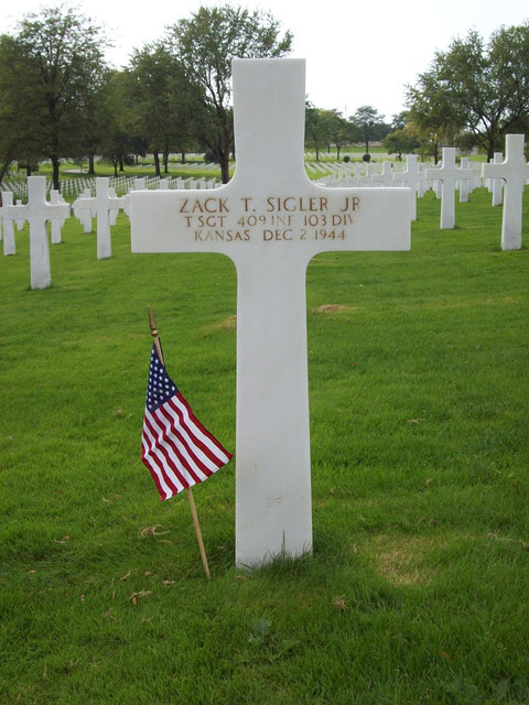 Zack's final resting place at the Lorraine American Cemetery in St. Avold, France (photo courtesy Zack Sigler)