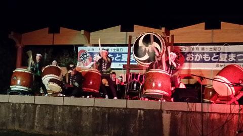 越前市岡本地区納涼祭にて。子供太鼓とともに、八ッ杉太鼓がトリを務めました!!