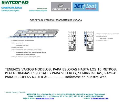 Plataformas de Varada Natercar para veleros, semirrigidas de hasta 10 metros. Rampas para Escuelas náuticas