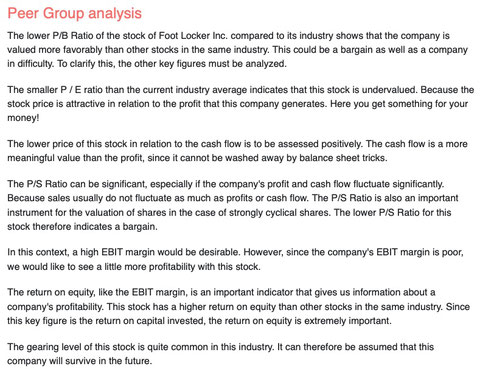 peer group analysis foot locker