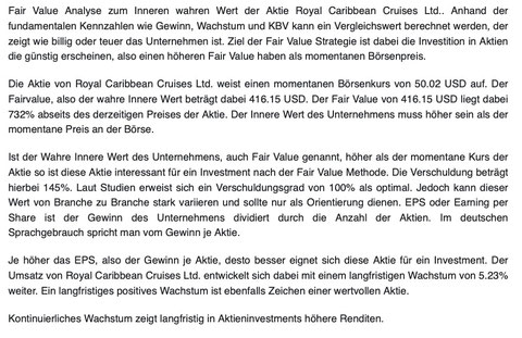Analyse Royal Caribbean Aktie