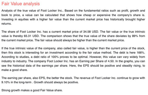 fair value analysis foot locker