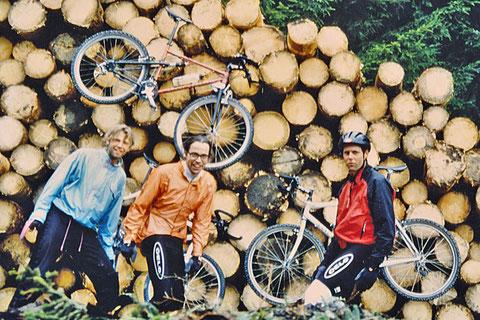 Erwin, Ralf und Fridolin beim VELO MTB-Betriebsausflug 1993