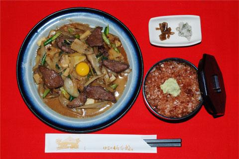 ミニわさび丼と鹿肉焼き