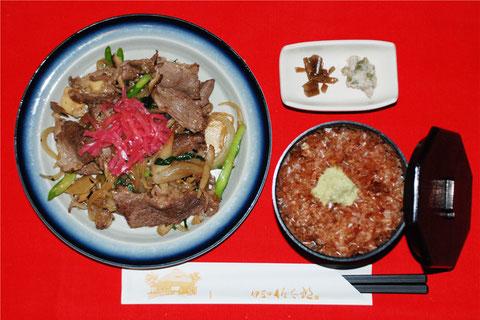 ミニわさび丼と猪肉焼き