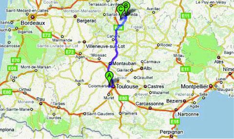 A=Colomiers, B=Gouffre de Padirac, C=Rocamadour