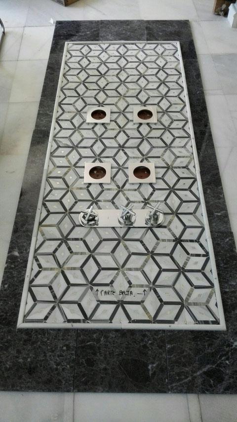 Frontal Sevilla,marmol macael y gris