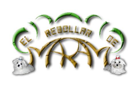Anagrama del Rebollar de Maram con ejemplares de Bichon Maltes