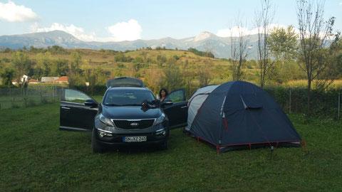 CP Natyra in Podgorcë an der Schwarzen Drin. Wir waren mal wieder die Einzigen...