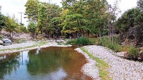 Am einem fast ausgetrockneten Fluss