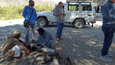 Ein Beduinen-Tee vom Lagerfeuer unter einem Wüstendattelbaum