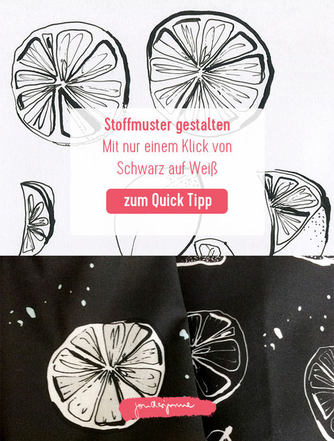 stoffmuster, photoshop, muster in Photoshop erstellen, Tutorial, Muster erstellen, pattern design, spoonflower, Muster aus Linienzeichnung, Zitronenmuster