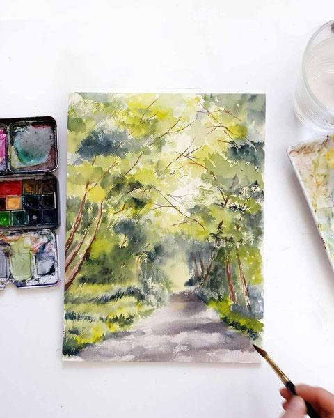 aquarell landschaft, bäume malen, aquarell, wasserfarben, landschaften malen, malen lernen, wie malt man bäume,