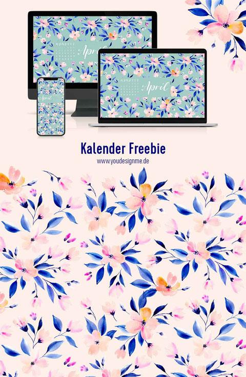 freebie, Kalender, April, Blüten, surface pattern design, Rapport, Textildesigner, florale aquarelle, blumen malen, malen lernen