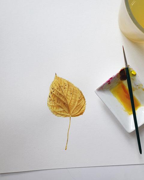 aquarell malen lernen, Blumen malen, Aquarell für Fortgeschrittene, Malen lernen, Malkurs, Online malen lernen, mityoudesignmemalenlernen, Wasserfarben, Gelb, Farben mischen, Farbtheorie, Herbstblatt malen, Herbstlaub