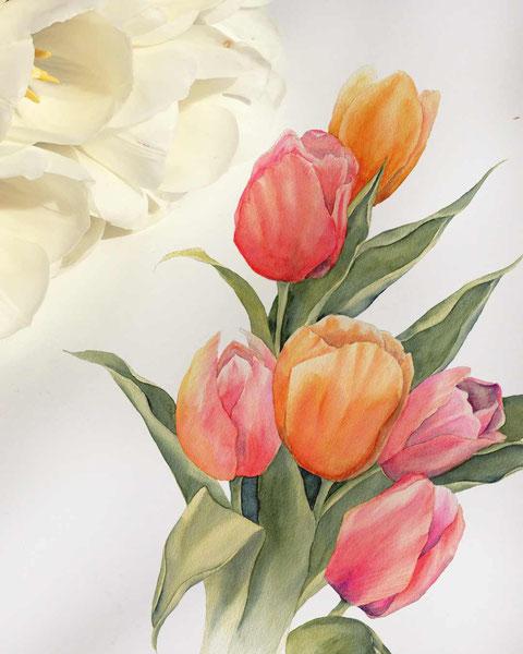 floralre aquarelle, blumen malen, aquarell für fortgeschrittene, aquarell malen lernen, botanische aquarelle, floral watercolor, mityoudesignmemalenlernen