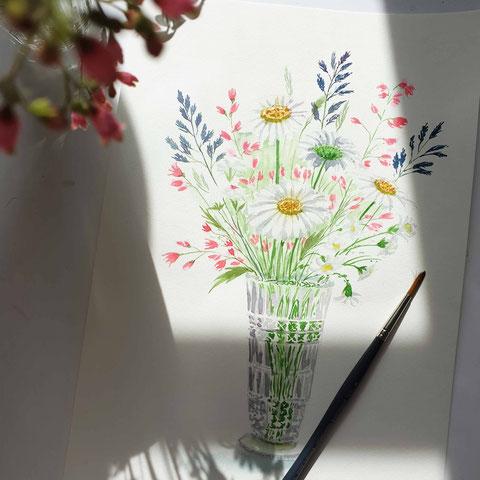 blumen malen, blumenaquarell, Aquarell für Einsteiger, Aquarell malen lernen, florale Aquarelle, mityoudesginemalenlernen, botanische Aquarelle