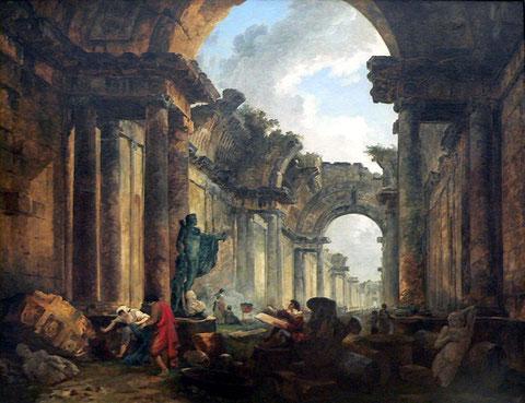 Vista imaginaria de la Gran Galería del Louvre en ruinas (1796), de Hubert Robert.