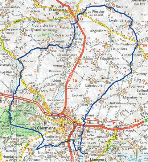 Cyclo de Bailleval - Parcours de 80 km du 4 août 2019