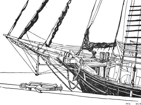 Saint-Malo Terre-neuvier Rouzic au bassin. Le Rouzic est un trois-mâts latin (sans voile carrée). Lancé en 1919 il coula en atlantique par une tempête le 7 avril 1932