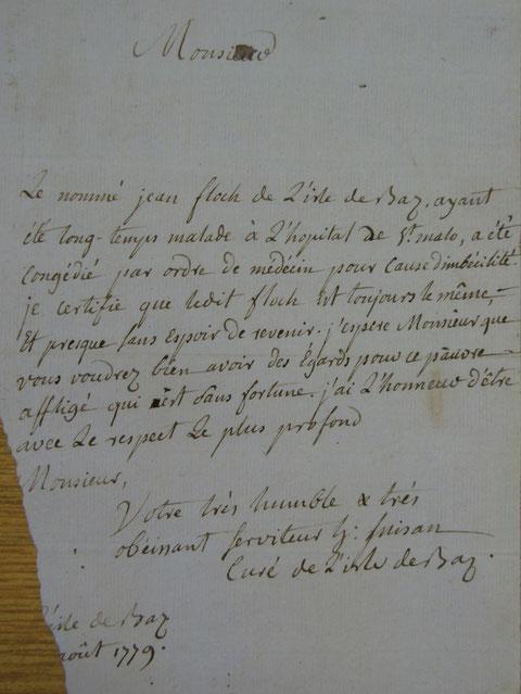 Lettre du curé Inizan, remarquable document joint à la matricule de Jean Floch
