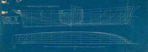 Plan de formes du même navire, des formes tres harmonieuse en particulier la coulée de l'arrière (Coll. Musée de la marine base Joconde)