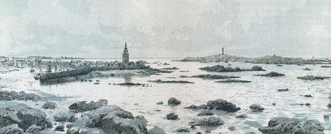 Port de Roscoff en 1886, dans le « Littoral de la France  » de Ch Aubert, en 1816, le Phare de l'île de Batz n'était pas érigé.