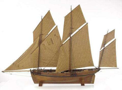 Modèle d'un lougre français de 8 canons (National Maritime Museum)