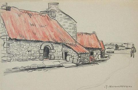 Porz an eog  habitat ancien de l'île de Batz  couvert de chaume vers 1930, ce type de bâtiment est utilisé comme étable ou grange  par Yvonne Jean-Haffen