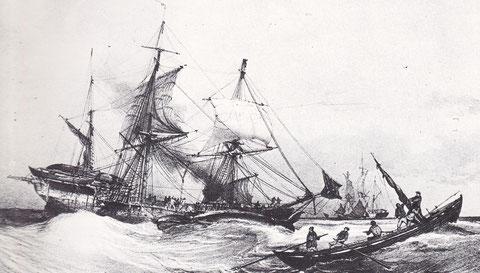 Pirogue baleinière et baleinier en panne une baleine le long du bord , gravure de Morel Fatio