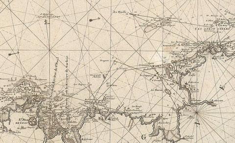 Détail de la baie de Lannion de la carte hollandaise de Van Keulen 1694