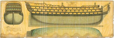 Le San Josef, vaisseau espagnol de 114 canons capturé en 1797 par l'amiral Nelson, puis intégré  dans la marine britannique