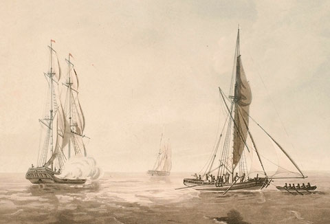 Prise d'un cotre corsaire français par le brick  HMS Cambrian le 23 octobre 1804 par Joseph Cartwright, le cotre tente de fuir en remorque de sa chaloupe et  en armant ses avirons (National Maritime Museum)