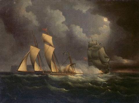 Lougre smuggler (contrebandier) chassé par un brick de guerre anglais vers 1825 huile de Thomas Buttersworth  (National Maritime Museum)