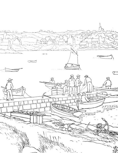 Ploumanac'h , les pêcheurs avec leurs petits canots à la cale de Pen ar Crec'h