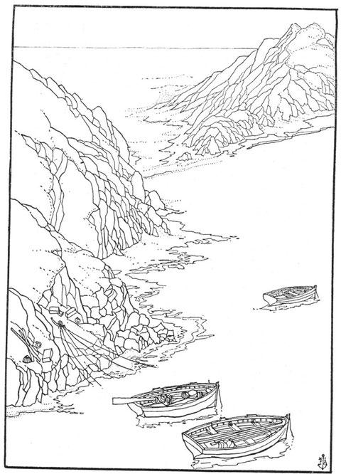 Ouessant canots au mouillage dans l'anse de Bouyou Glaz à Kadoran