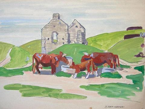 Vaches de l'île de Batz près de la chapelle Sainte Anne par Yvonne Jean-Haffen vers 1930