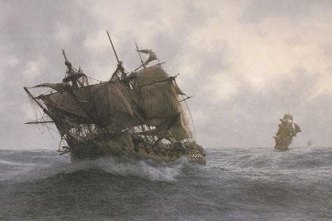 Le vendredi 13 janvier 1797, Le vaisseau de 74 « Les droits de l'homme » poursuivit par les frégates anglaises HMS Indefatigable et HMS Amazon, tableau de John Chancelor
