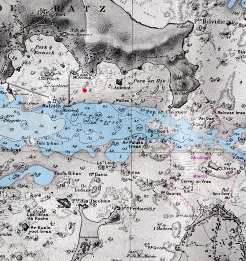 Chenal de l'île de  Batz carte SHOM 5828, en rouge la localisation approximative de la découverte