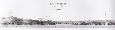 Le profil de côte de l'île de Bas vu du danger le taureau, Le Pilote Français 1837  Beautemps Beaupré, à gauche le moulin du centre, au milieu les deux moulins de l'ouest, le moulin de gwales n'est  pas encore construit