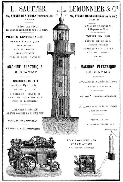 la réclame de la maison Sautter et Lemonier, vers 1880, est avec un feux de port