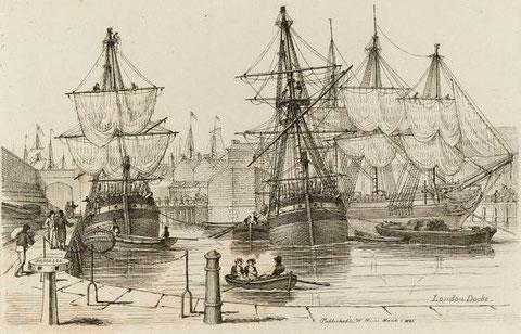 Les docks de Londres vers 1820, Le trois mâts India est peut être parti de ces docks, il n'arrivera jamais en Colombie
