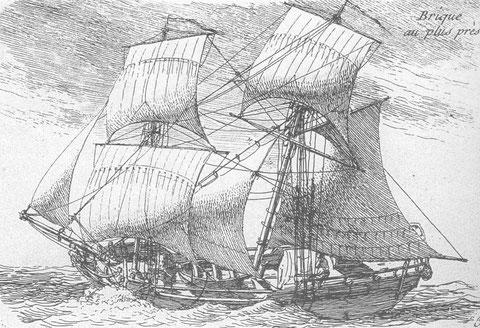 Type de navire marchand :  brick au près, P Ozanne