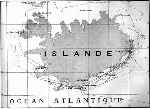 Routes suivies par deux goélettes en 1912, elle n'hésite pas à essayer différent lieux de pêche pour essayer de suivre le poisson