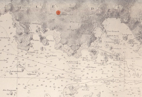 Porz retter dans l'ouest de l'île de Batz  présente une belle anse ou des bancs entier de poisson peuvent entrer (carte marine de 1923)
