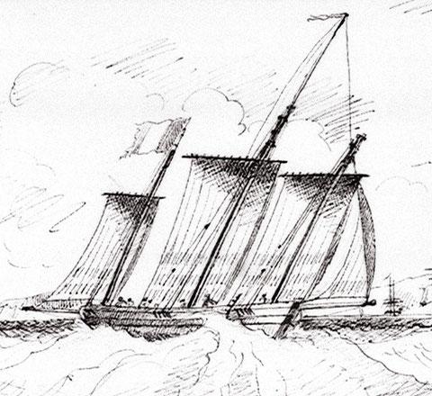 Lougre français au près tribord amure, c'était à cette époque les voiliers les plus performants au près dessin de Edward Bamfylde (National Maritime Museum)
