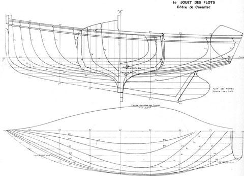 Plan des formes du Jouet des flots, tracé par Jean Le Bot « Bateaux des cotes de Bretagne nord » édition Glénat