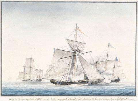 Prise du cutter anglais Swan par les lougres corsaires Réciprocité et le Voltigeur