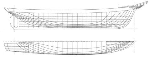 Plans des formes du Pourquoi Pas ?, retracés par Alain Marie Gautier arrière-petit-fils du constructeur François Gautier d'après les plans d'origine, les formes sont particulièrement élégantes (publiés dans le Chasse-Marée n°24)