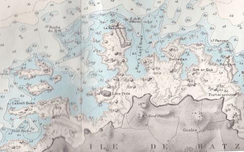 Les lieux du naufrage, le Raoumeur dans le nord d'Enez ar prat est particulièrement dangereux, le ressac y déferle par houle et le courant de marée y est important